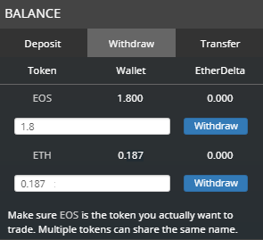 Withraw balance from Etherdelta