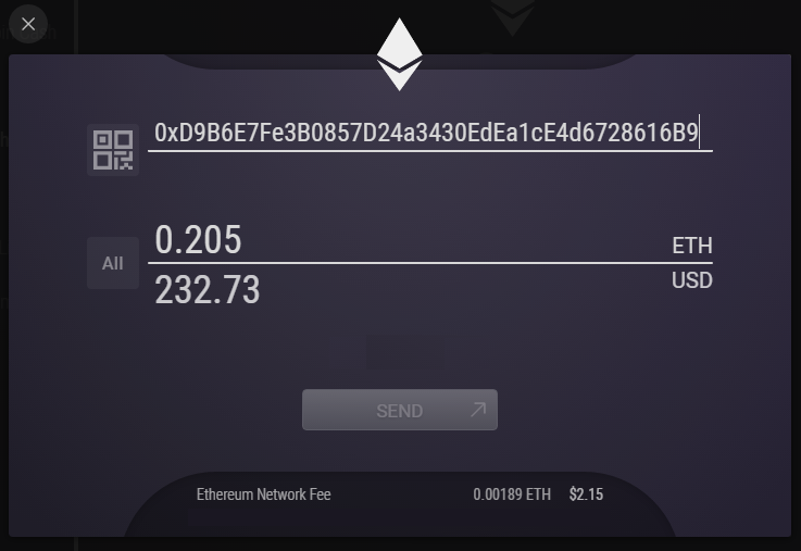 Send eth from exodus to etherdelta