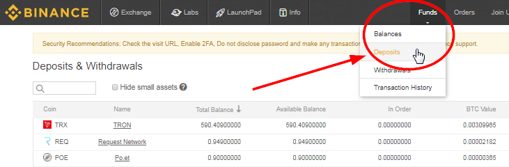 Binance Deposit Funds