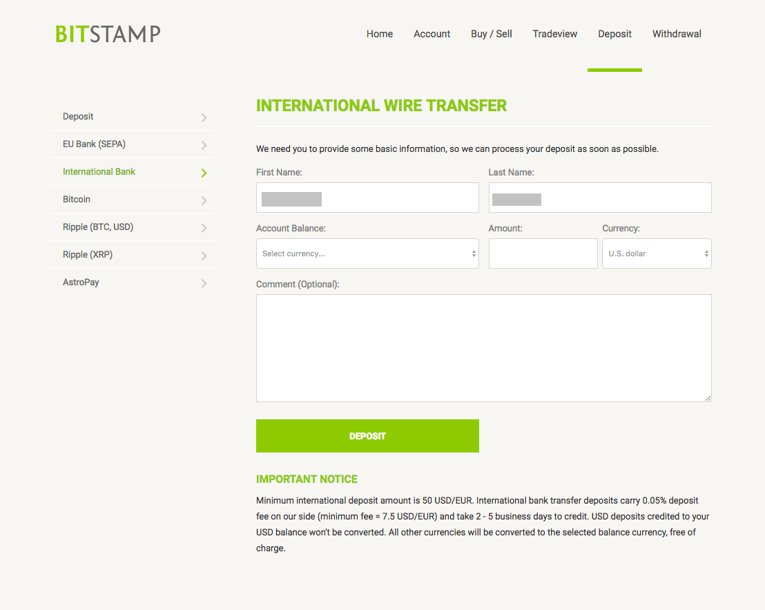 Bitstamp International Wire Transfer