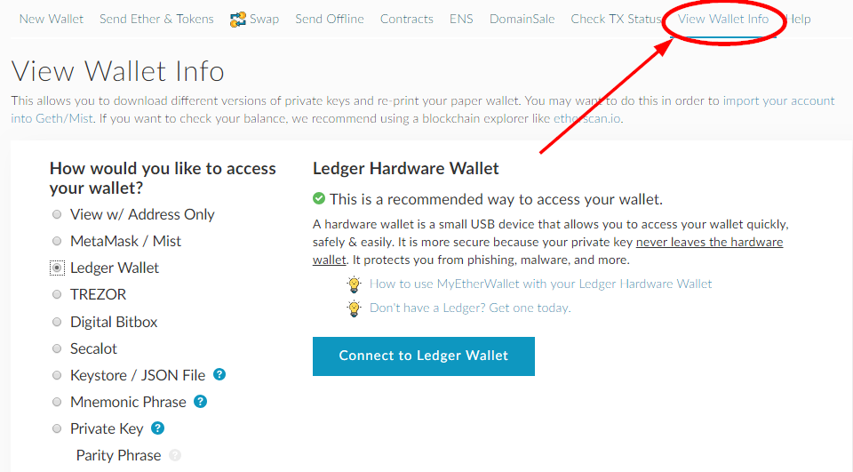 Myetherwallet View Wallet info