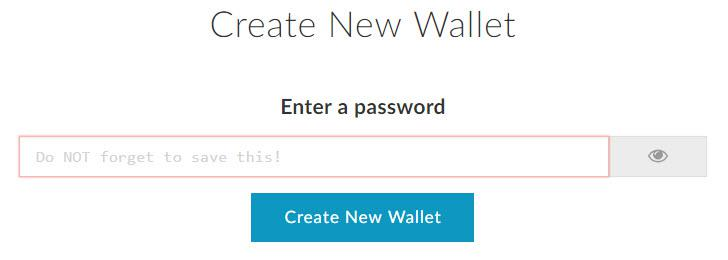 MyEtherWallet (MEW) - Create new Wallet